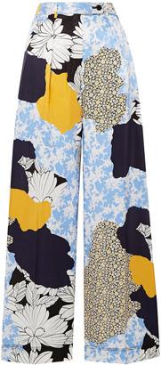 By Malene Birger Enil Printed Satin Wide-leg Pants