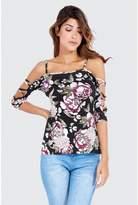 Select Fashion Fashion Dark Floral Lattice Sleeve Bardot Top Boleros - size 6