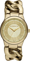 Liz Claiborne Womens Gold-Tone Link Chain Watch