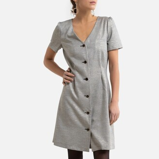 Naf Naf Button-Through Houndstooth Dress with Short Sleeves