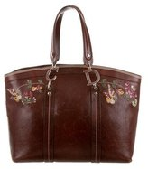 Christian Dior Embroidered Leather Tote