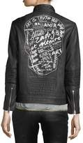 Zadig & Voltaire Loup Leather Motorcycle Jacket w/ Graphic Print