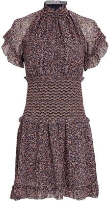 Jonathan Simkhai Serena Smocked Floral Chiffon Dress