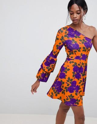 Asos Design DESIGN one shoulder mini skater dress with double bubble sleeve
