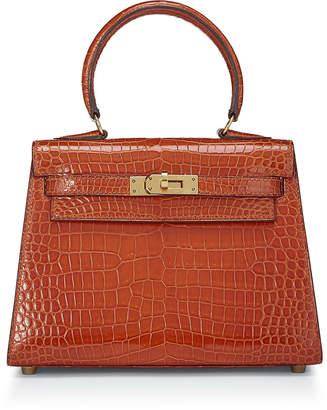 Hermes Kelly 20 Caiman Crocodile Top Handle Bag, Orange