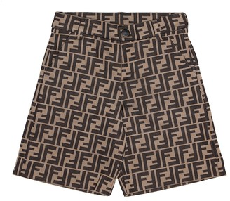 Fendi Kids Jacquard cotton-blend shorts
