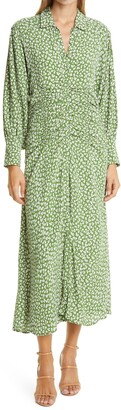 By Ti Mo Autumn Floral Ruched Midi Dress