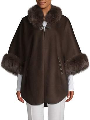 Wolfie Fur Made For Generation Fox Fur-Trim Wool & Cashmere-Blend Cape
