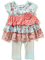 Bonnie Jean Bonnie Baby Girls Newborn-24 Months Mixed Print Tiered Dress and Striped Leggings Set
