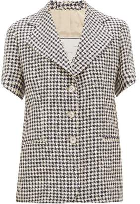 Giuliva Heritage Collection Houndstooth Linen Short-sleeved Jacket - Womens - Blue White
