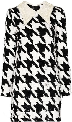 Ashish Houndstooth-pattern sequin-embellished mini dress