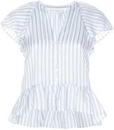 Veronica Beard striped-print ruffled blouse