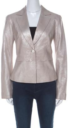 Elie Tahari Silver-Grey Suede Blazer S