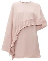 Valentino Asymmetric-cape Crepe Mini Dress - Womens - Pink