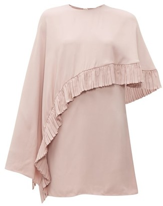 Valentino Asymmetric-cape Crepe Mini Dress - Womens - Pink