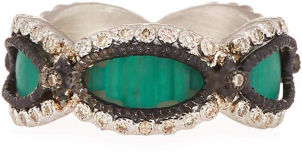 Armenta New World Teal Mosaic Champagne Diamond Ring, Size 6.5