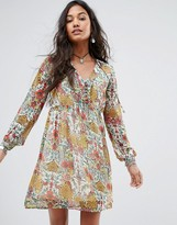 Boohoo Floral Tie Front Smock Dress