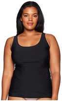Yummie Plus Size 6-in-1 Shaping Tank Top w/ Bonded Construction (Black) Women's Sleeveless