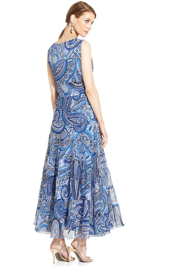 Evan Picone Sleeveless Paisley-Print Maxi Dress