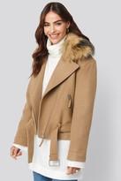 BEIGE Hannalicious X NA-KD Faux Fur Collar Biker Jacket
