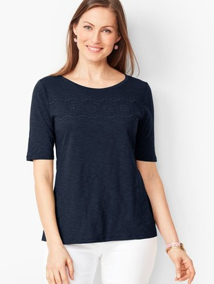 Talbots Embroidered Slub Tee - Solid