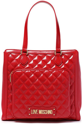 Love Moschino Logo-embellished Quilted Faux Glossed-leather Shoulder Bag
