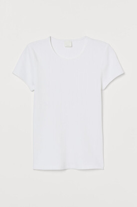 H&M Ribbed T-shirt - White