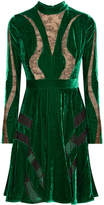 Elie Saab Lace-paneled Crushed-velvet Dress - Forest green