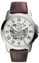 Fossil 'Grant' Automatic Leather Strap Watch, 45mm