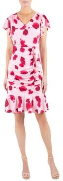 Julia Jordan Ruched Flutter-Hem Dress