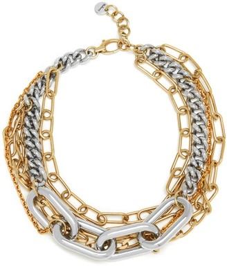Mulberry Square Links Multi Chain Necklace Gold and Silver Brass