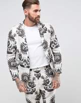 Asos Skinny Suit Jacket With Birdhouse Print