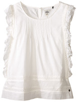 Ikks Pintuck Blouse with Ruffles Down Side & Embroidered Trim (Big Kids)