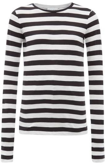 Raey Long Sleeved Striped Slubby Cotton Jersey T Shirt - Womens - Black Stripe
