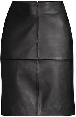 Donna Karan Seamed Leather A-Line Skirt