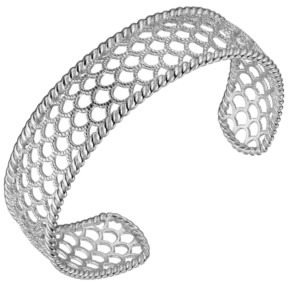PRIME ART & JEWEL Sterling Silver Filigree Net Design Cuff Bracelet