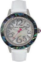 Betsey Johnson Women's White Leather Strap Watch 43mm BJ00576-01