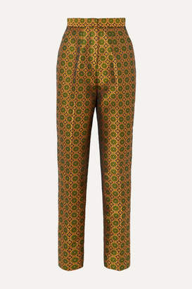 Saloni Maxima Floral Brocade Tapered Pants - Gold