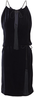 Nili Lotan Jamie Cutout Tassel-trimmed Velvet Mini Dress