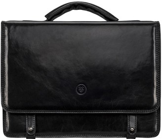 Maxwell Scott Bags Fine Quality Black Italian Leather Mens Satchel Briefcase Bag