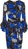 Diane von Furstenberg Faridah Wrap-effect Printed Stretch-mesh Mini Dress