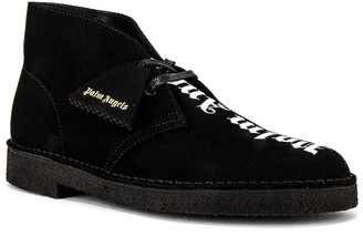 Palm Angels Logo Desert Boots in Black & White | FWRD