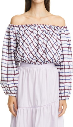 Merlette New York Chalton Gingham Embroidered Off the Shoulder Crop Blouse