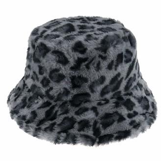 DFLYHLH Leopard Fishing Caps Panama Warm Soft Faux Fur Winter Bucket Hat for Women Ladies Grey