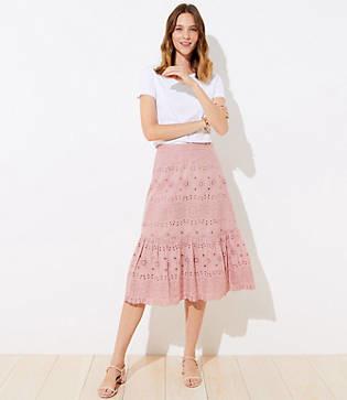 LOFT Eyelet Flounce Midi Skirt