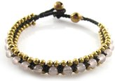 Mary Grace Design MGD, Light Rose Quartz Color Bead With Golden Beads and Brass Bell Bracelet. Beautiful Handmade Stone Wrap Bracelet Made From Wax Cord. Fashion Jewelry for Women, Teens and Girls., JB-0091