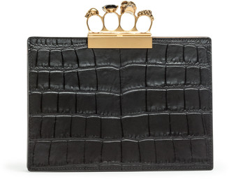 Alexander McQueen Four Ring Pouch black leather clutch