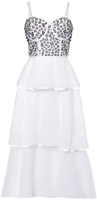 True Decadence White Black Mono Flower Tiered Organza Maxi Dress
