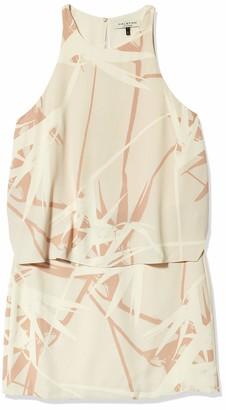 Halston Women's Sleeveless Round Neck Printed Tiered Dress