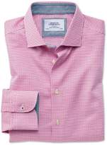 Charles Tyrwhitt Extra Slim Fit Business Casual Semi-Spread Collar Puppytooth Pink Cotton Dress Casual Shirt Single Cuff Size 15.5/32